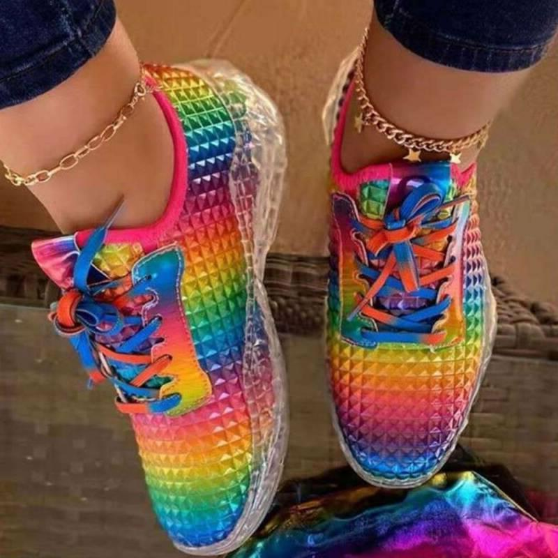 Womens Lace-up Flat Trainer Boots Rainbow Fitness Shoes