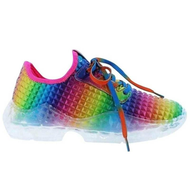 Womens Tie Flat Sneakers Rainbow Fitness Shoes