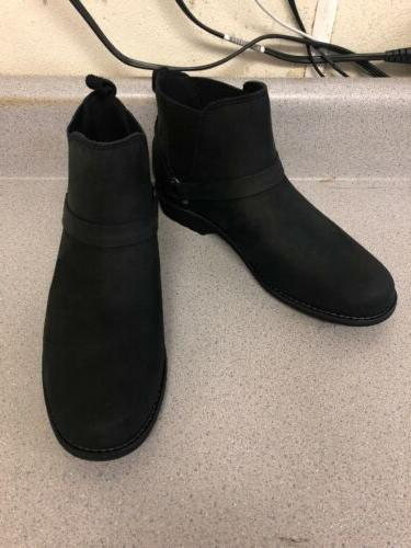 womens waterproof leather chelsea boots black size