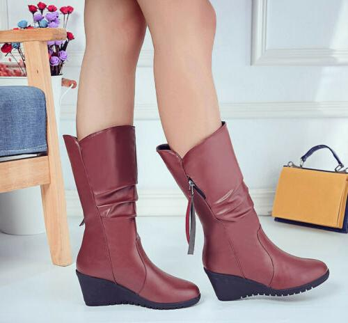 Women Warm Winter Faux Leather Fur Lined Mid Calf Boots Wedg