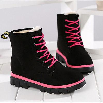 Womens Winter Suede Ankle Snow Boots With velvet Warm Flats