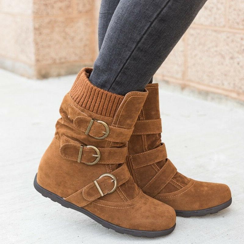 Womens Winter Boots Fur Buckle Flats Size 9.5