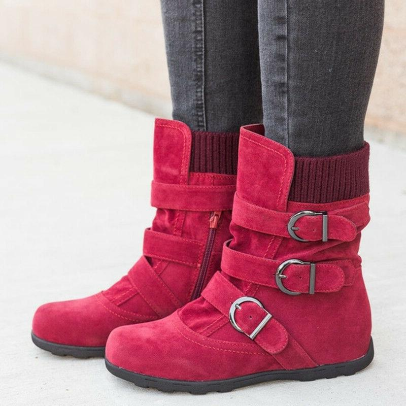 Womens Winter Boots Buckle Flats Suede Shoes Size 9.5