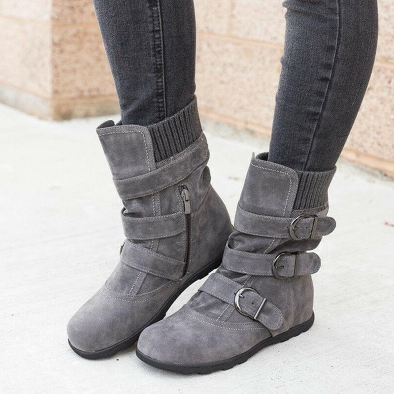 Boots Fur Snow Buckle Shoes Size 9.5