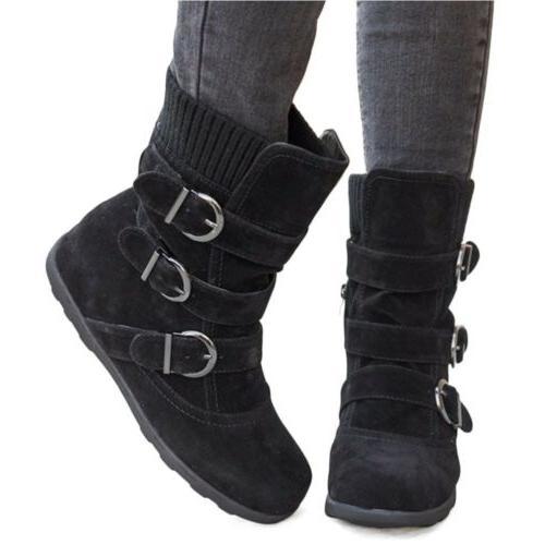 Womens Winter Boots Buckle Booties