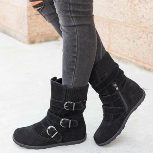Womens Winter Warm Boots Fur Buckle Suede Booties