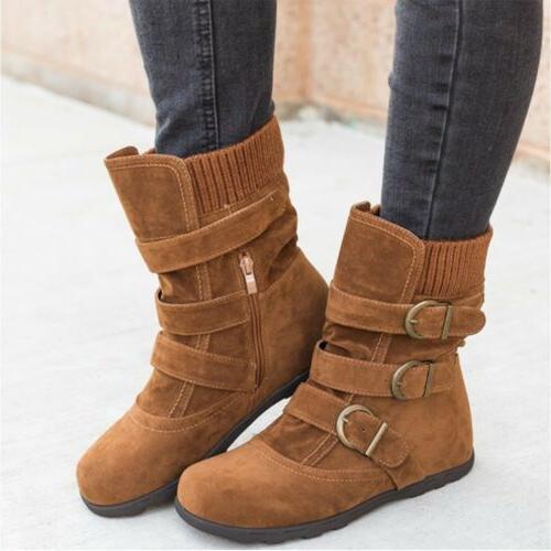 Womens Winter Boots Fur Buckle Suede Booties