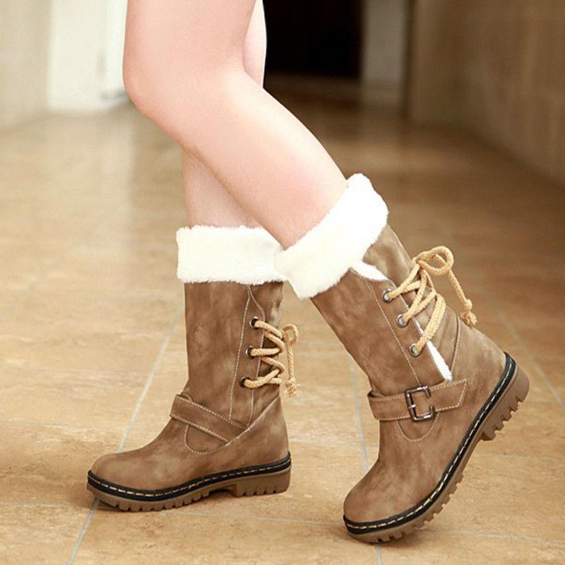 womens winter boots snow fur lined warm