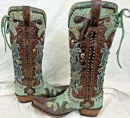 Double D Ranch Ladies 15 Inch Cowboy Boots Cross DDL001-1 Tu