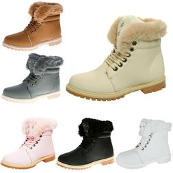 LADIES ANKLE BOOTS WOMENS FUR LINED FLAT GRIP SOLE ARMY COMB