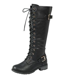 Forever Link Women's Mango-27 Double Buckle Combat Boots Bla