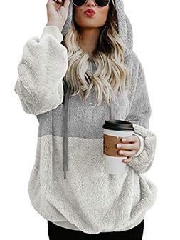 TEMOFON Women's Long Sleeve Zipper Casual Hooded Sweatshirt