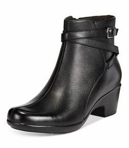Clarks Malia Meara Women's Black Leather Ankle Booties Size