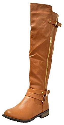 Forever Mango L 5 Womens Knitted Knee High Riding Boots Tan