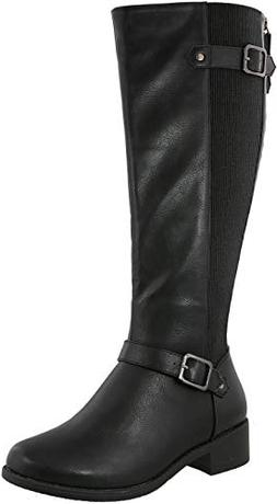 Top Moda MAYOW-37 Buckled Strap Knee-High Women Boot