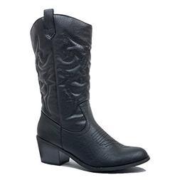West Blvd Miami Cowboy Western Boots, Black Pu, 8