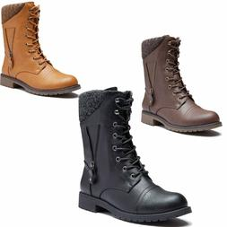 DailyShoes Military Combat Boots Mid Calf Sweater Card Side