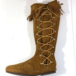 Minnetonka-Moccasin-Tall Lace up Brown-Boots-Size-11 New wit