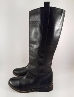 Musse & Cloud Black Knee High Riding Boots for Women Size US