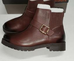 "Vionic ""Mystic Mara"" CHOCOLATE BROWN BUCKLE Strap Ankle Boot"