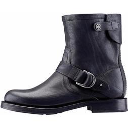 OLUKAI Nahuku Short Black LEATHER Moto Ankle BOOTS $260 NWT