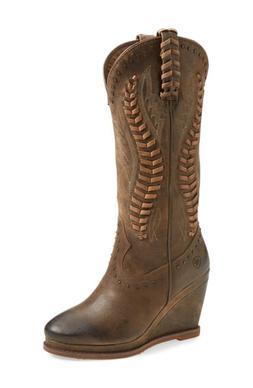 Women's Ariat Nashville Western Wedge Boot, Size 9.5 M - Bro