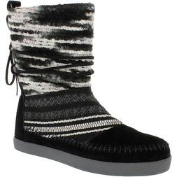 Toms Women's Nepal Black Suede Textile Mid-Calf Suede Boot -