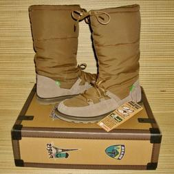 NEW Sanuk Cariboot Tan Soft Suede Down Winter Boots WOMENS 8