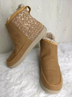 NEW! Sanuk Casual Boots Womens 9 Nice Bootah Ojai Ankle Tan