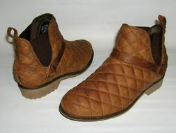 NEW TEVA DE LA VINA DOS CHELSEA QUILTED LEATHER ANKLE BOOTS
