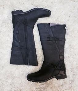New TEVA 'De La Vina' Women's Black Leather Boots Knee H