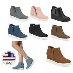 DREAM PAIRS Womens Wedge Heels Ankle Boots Round Toe  Side Z
