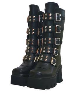 New Gothic Punk Women's Platform Boots Black Buckle Strap zi