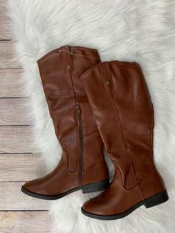 NEW Rampage Knee High Cognac Riding Boots Faux Leather Sz 6