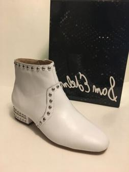 NEW Sam Edelman Lorin White Leather Ankle Booties Studded He