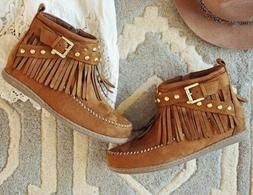 New Moccasin Western Cowboy Native Ankle Tassels Boots Shoes