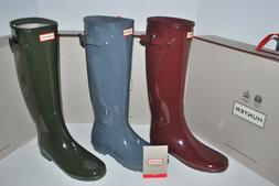NEW NIB HUNTER WOMEN'S ORIGINAL TALL GLOSS RAIN BOOT OLIVE G