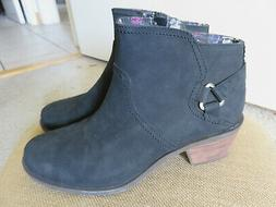 NEW NWOB Teva Foxy Black Leather Ankle Boots Womens Size 9.5