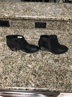 New Vionic Orthaheel Black Leather Womens Ankle Boots 9M $14