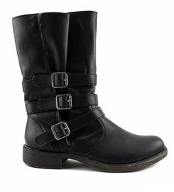 New Rampage Rainer casual motorcycle black buckle boots wome