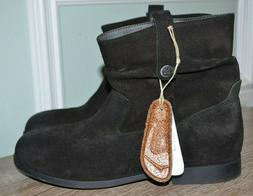 New Birkenstock Sarnia Black Suede Leather Ankle Boots Reg F