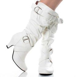 New Women's Fashion Dress Low Heel Zipper Mid Calf Knee High