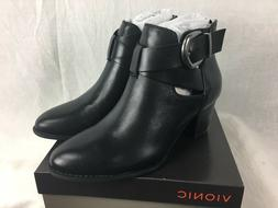 NEW VIONIC UPRIGHT RORY WOMENS BLACK LEATHER ANKLE BOOT SHOE