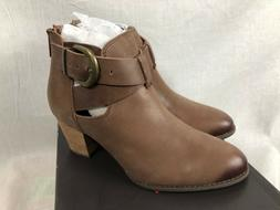 NEW VIONIC UPRIGHT RORY WOMENS DARK BROWN LEATHER ANKLE BOOT