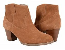 New VIONIC Upright Windom Suede Ankle Boots Saddle Orthaheel
