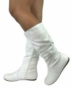 New White Round Toe Slouchy Women Causal Mid Calf Flat Boots