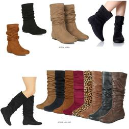 New Women Ankle Boots or Mid Calf Faux Suede PU Pull On Comf