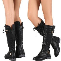 New Women Black Round Toe Lace Up Knee High Military Combat