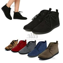 New Women Slip On Lace Up Faux Suede Flat Heel Ankle Boots C