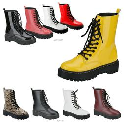 New Women Lace Up Combat Boots Low Chunky Heel Military High